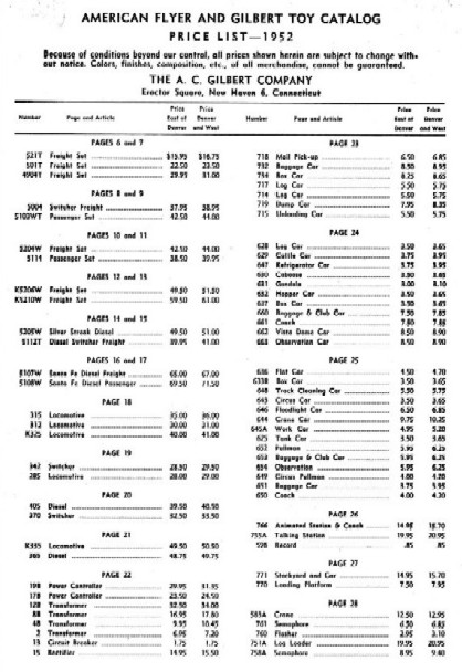 1952 Gilbert American Flyer Price List Photocopy (1350)