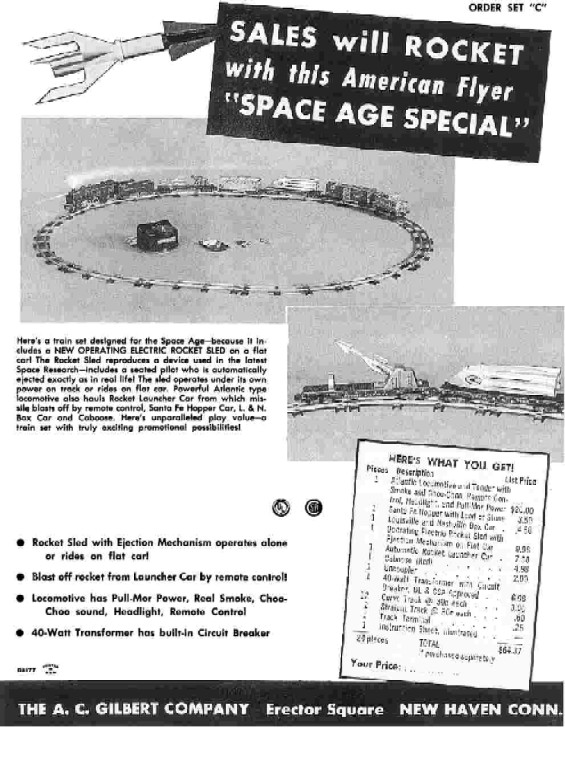 1959 American Flyer Train Space Age Sheet (D2177). Mint Condition.