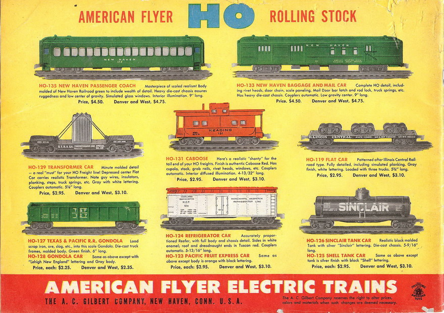 1950 Gilbert American Flyer Advance Catalog (D1604) Very Good Plus Condition - Click Image to Close