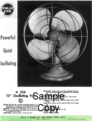 1948 American Flyer Gilbert Polar Cub Oscillating Fan (D1516). Mint Condition.