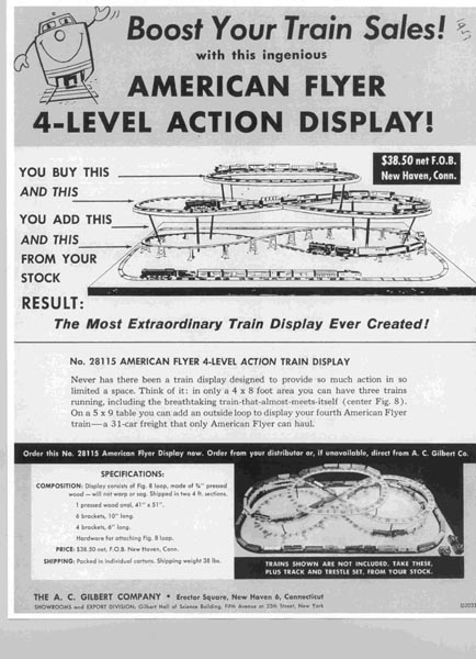 1957 American Flyer 4-Level Display Info (D2033). Mint Condition.