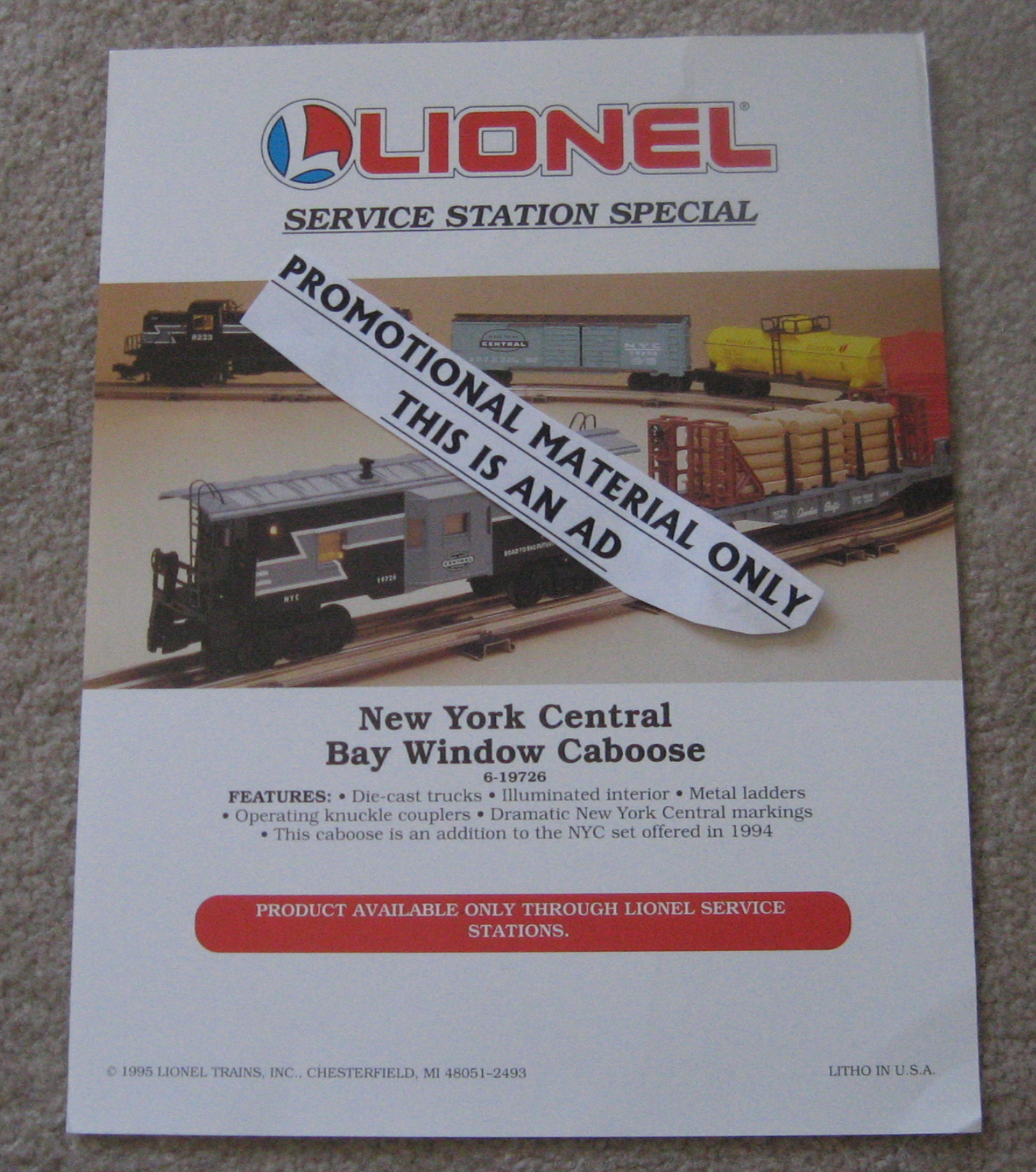 1995 Lionel Trains 6-19726 New York Central Bay Window Caboose Flyer. Mint Condition.