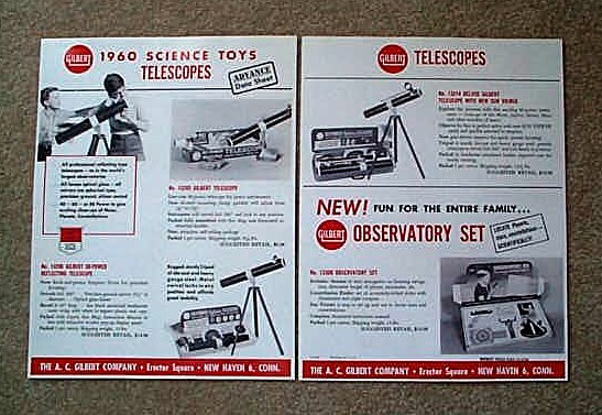 1960 American Flyer Gilbert Science Toy Telescopes Flyer (D2183). Mint Condition.