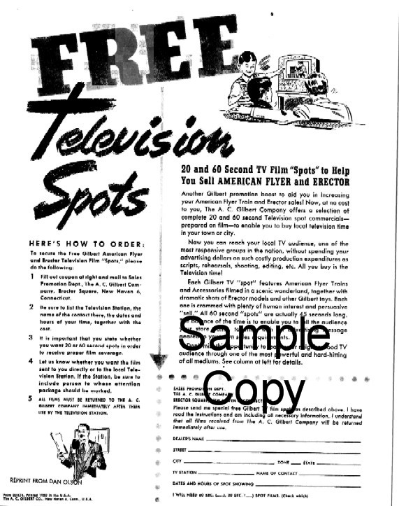 1950 American Flyer Free Television Spots (D1624). Mint Condition.