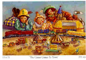 Angela Thomas Print # 6, The Circus Comes To Town. Mint Condition